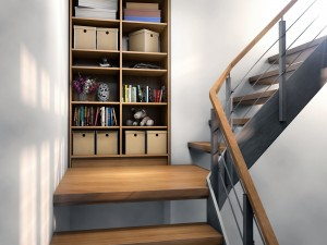 Einbauschrank an einer Treppe